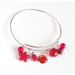 Pulsera de mujer, Rush plateado, perlas rojas y cabujón