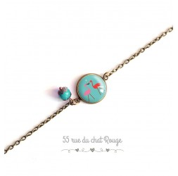 Woman bracelet, fine chain, pink flamingo cabochon, Exotic