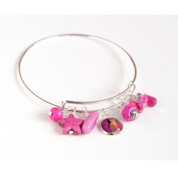 Bracciale Giunture, placcato argento, perle rosa fucsia e cabochon 12 mm