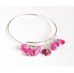 Pulsera Rushes, plateado, perlas rosa fucsia y cabujón 12 mm