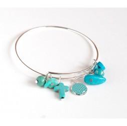 Bracelet bangle argenté, breloques bleu turquoise
