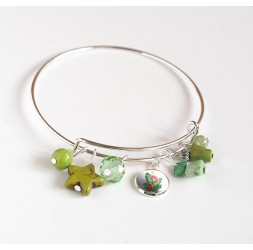 Armband Binsen, versilbert, grüne Perlen und Cabochon 12 mm