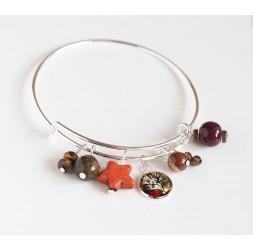Bracciale Anelli, argento placcato, perle marroni e cabochon 12 mm