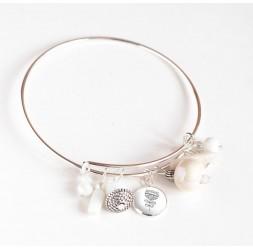 Pulsera Rushes, plateado, perlas blancas y cabujón de 12 mm