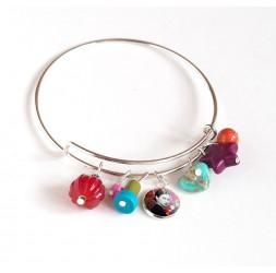 Armband Binsen, versilbert, mehrfarbige Perlen und Cabochon 12 mm