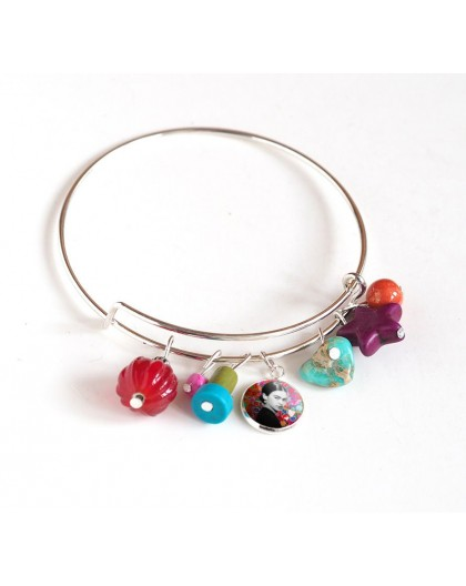Bracelet Rushes, silver plated, multicolour pearls and cabochon 12 mm