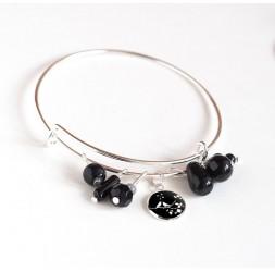 Pulsera Anillos, chapados en plata, perlas negras y cabujón 12 mm