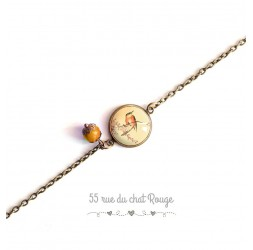 Woman bracelet, fine chain, cabochon small bird, Japan, romantic, orange beige