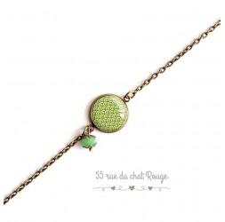 Bracciale donna, catena fine, cabochon a onde giapponesi, segale, verde