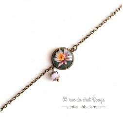 Pulsera de mujer, cadena fina, cabujón Flor de lirio de agua, Zen, rosa y bert