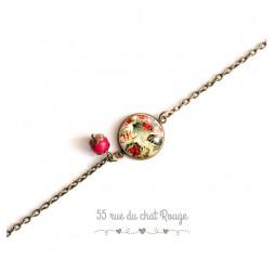 Pulsera mujer, cadena fina, flores tropicales cabujón, verde caqui rojo y beige, exótico