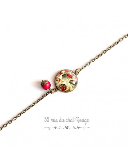 Bracelet woman, fine chain, cabochon tropical flowers, green khaki red and beige, exotic