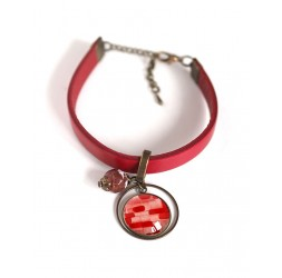 Bracelet femme, cuir rouge, cabochon watercolor rouge et rose