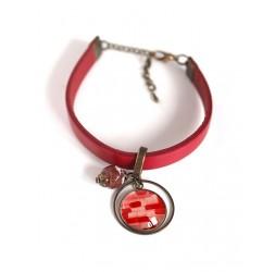 Bracelet rouge en cuir, cabochon rouge et rose