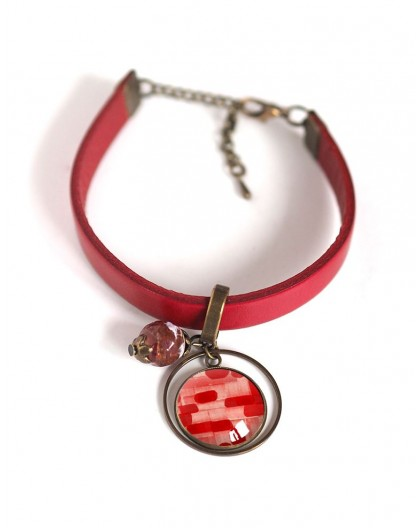 Women's bracelet, red leather, red and pink watercolor cabochon