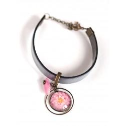 Woman bracelet, grey leather, pink dahlia flower cabochon