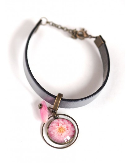 Woman bracelet, grey leather, pink dahlia flower cabochon