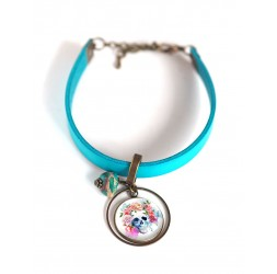 Women's bracelet, turquoise leather, multicolour floral skull cabochon