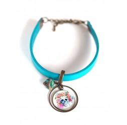 Women's bracelet, turquoise leather, multicolour floral skull cabochon