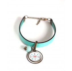 Women's bracelet, pastel blue leather, Message Love cabochon