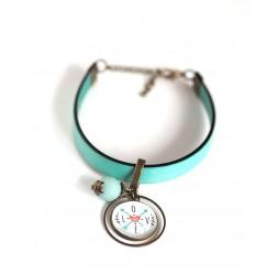 Women's bracelet, pastel blue leather, Message Love cabochon
