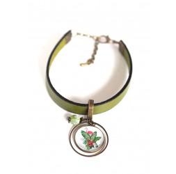 Damenarmband, grünes Leder, rosa Flamingo-Cabochon, tropische Blumen