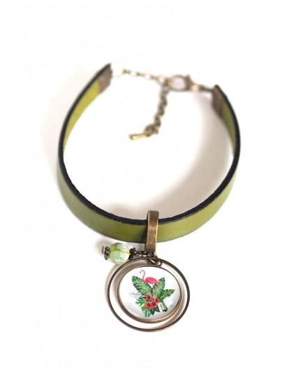 Woman bracelet, green leather, pink flamingo cabochon, tropical flowers