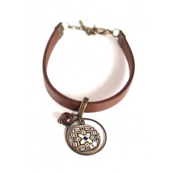 Women's bracelet, brown leather, cabochon Azuleros portugal, beige and brown