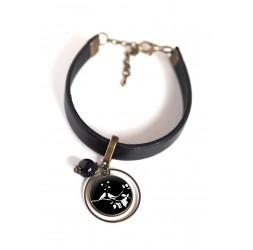 Bracelet femme, cuir noir, cabochon Petits oiseaux blanc et noir