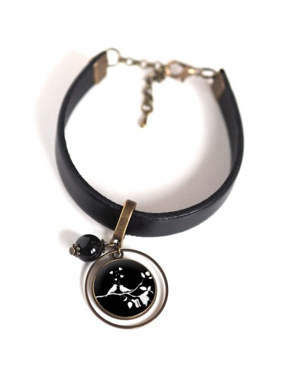 Women's bracelet, black leather, cabochon Small white and black birds