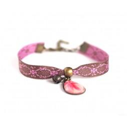 Pulsera estilo retro, gota de cabujón, rosa y marrón