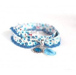 Cord bracelet Liberty style blue flowered cord, cabochon drop, navy blue