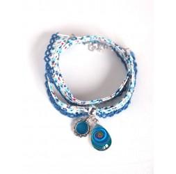 Kordelarmband Liberty Style blau geblümte Kordel, Cabochon-Drop, marineblau