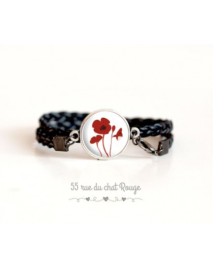 Black imitation leather cuff bracelet, Red poppies