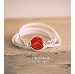 White imitation leather cuff bracelet, Strawberry cabochon