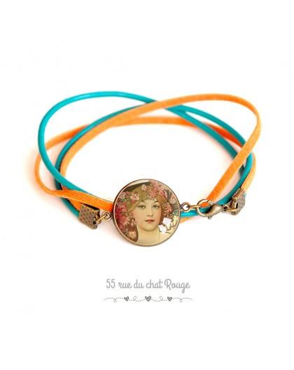 Bracelet cuir et suedine, romantique, femme, style rétro