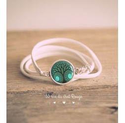 Bracciale in finta pelle bianca, Cabochon Tree of life, Verde