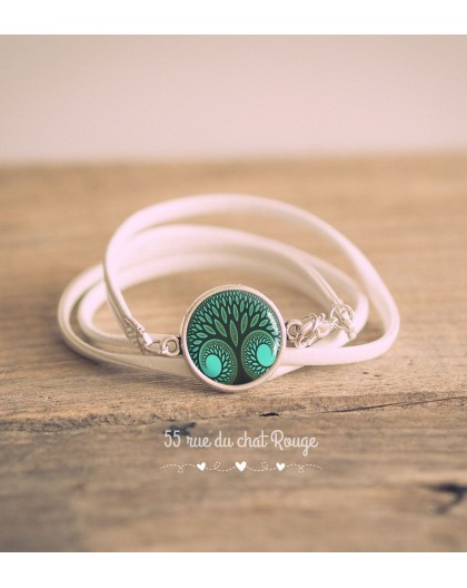 White imitation leather cuff bracelet, Cabochon Tree of life, Green
