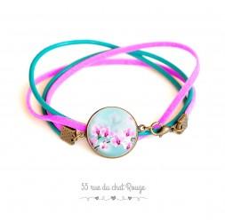 Bracelet manchette cuir turquoise et suedine fushia, Orchidée rose