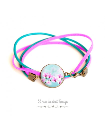 Turquoise leather and fushia suedine cuff bracelet, pink orchid