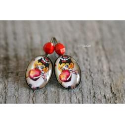 Earrings Little girl and her little red heart
