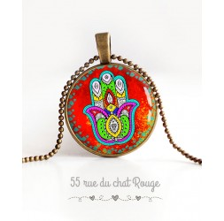 Collier pendentif cabochon Main de Fatma, Porte-bonheur
