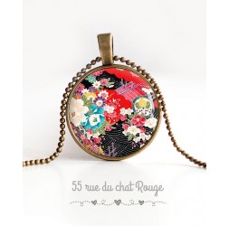 Collier pendentif cabochon Motif Japonais, flora, rouge et noir