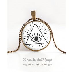 Necklace cabochon pendant Protective eye, Providence eye