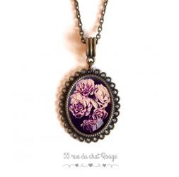 Collier pendentif cabochon Bouquet de rose, tons rose et violet
