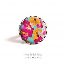 Ring Cabochon, Exotische Blumen, farbig, gelb türkis fuchsia
