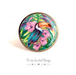Anillo de cabujón, Ave tucán, hibisco exótico, colorido