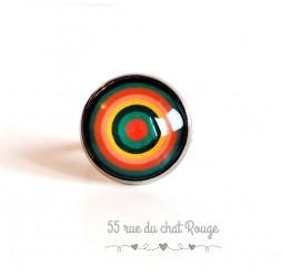Bague Cabochon colorée, cercles infinis, vert et orange