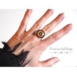 Anello Cabochon colorato, cerchi infiniti, verde e arancione