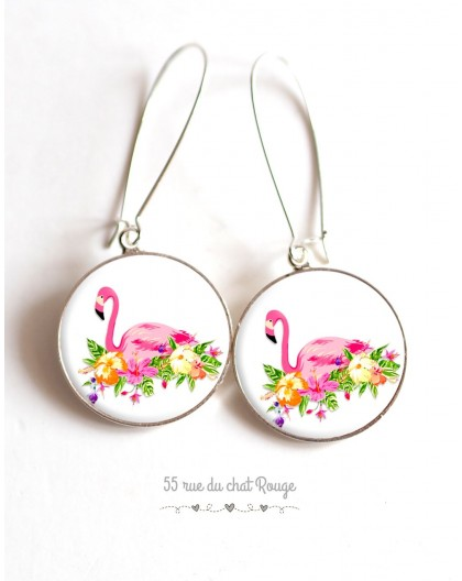 Earrings, Flamingo flower bed on cabochon epoxy